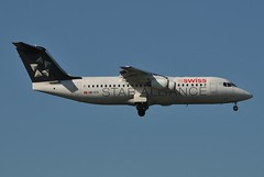 LX RJ10 HB-IYV (PlaneSnapper) Tags: london lines star heathrow swiss air international lhr alliance avro lx 146 egll swu rj100 rj10 hbiyv