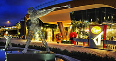 Sentosa Boardwalk from Vivo City... (williamcho) Tags: sculpture food holiday tourism shop retail architecture singapore retreat signage bluehour attraction vivocity topazlabadjust sentosaboardwalk