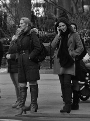 Some Laugh, Some Talk, Some Daydream [Crop] (Smith-Bob) Tags: nyc winter ladies bw usa ny cold mobile lady america scarf laughing us blackwhite women waiting crossing phone boots manhattan coat cell talk laugh wait cropped talking blacknwhite unionsquare unionsq