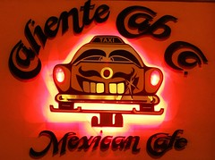 Caliente Cab Co. Mexican Cafe West Village NYC (SA_Steve) Tags: nyc sign night restaurant cafe cab taxi westvillage mexican caliente calientecabcomexicancafe