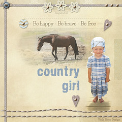 Country girl (violablom) Tags: scrapbook layout viola blom girl horse summer blue beige child kid simple beautiful life heart digitalscrapbooking sand neutral country people