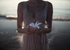 Offering to Persephone (FranceFoto_) Tags: art artist greek mythology beauty beautiful persephone story narrative life light beach woman girl nature morning warm fantasy halo