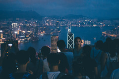 Crowded (]vincent[) Tags: china hong kong vincent people peak victoria tram city sky night icc tower harbour bruce lee sony rx 100 mk iv selfie ifc bank neon clouds