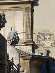 M. Chat aux Beaux-Arts (So_P) Tags: street art streetart chat cat sculpture buste beaux arts ecole paris poussin puget