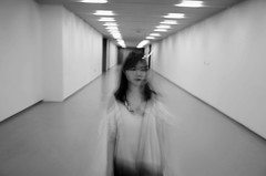 (Russell Siu) Tags: black white bw monochrome museum factory corridor walking girl lady wondering thinking sehnsucht desire hoffnung hope shanghai