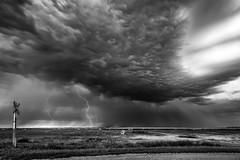 Lightning over fields (ScottBennie) Tags: scenery longexposure summer lightning landscape outside canada nature sunset clounds saskatchewan green rural storm prairie gray
