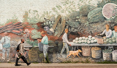 'Step Back in Time' (Canadapt) Tags: mural man walking farming dog vegetables sidewalk brick wall toronto canadapt