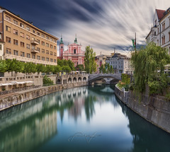 TRIPLE BRIDGES (Titanium007) Tags: slovenia slovenija tromostovje ljubljana river bridge reflection sky clouds green trees willow architecture medieval oldtown