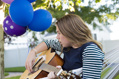 Birthday Guitar (aaronrhawkins) Tags: birthday girl guitar hammock balloons backyard strum practice present jessica learn learning aaronhawkins outside outdoors