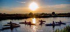 Day 253,2016, a photo a day. (lizzieisdizzy) Tags: howiemarsh kayak canoe children kids water stream canal calm restfull lesson fields reeds rushes trees foliage sundown marsh reflction reflections ripples