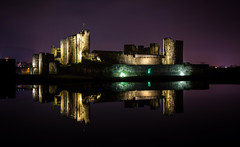 Caerphilly Castle (technodean2000) Tags: nikon d610 lightroom uk south wales reflections caerphilly castle wall night reflection outdoor architecture people