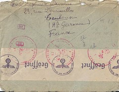 "France / Petawawa, Ontario POW Postal History - TOULOUSE GARE / HAUTE GARONNE - 16 June 1944 to Former ""Prisioner of War"" Captain J. Johannsen / Hamburg, Germany (Treasures from the Past) Tags: prisionerofwar pow petawawa camp33 hamburg germany toulouse france johannsen worldwar2 wwii censored censoredletter mail examinedbycensor basepostoffice internmentcamp ottawacanada german powcamp greatbritain england camp13 no13 ontario canada"