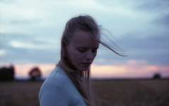 Charlotte (fraser_west) Tags: sunset dusk midlands girl outdoors clouds fields 35mm fujifilm superia 400 canon eos3 2016 charlotte wind naturallight nature youth uk analog film colour portrait friends art wetheconspirators