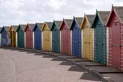 Beach huts (kailhen) Tags: beach huts seafront colourful bright seaside dawlish dawlishwarren devon colours red yellow blue green sunny sunshine shaddows