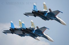 Su-27 Sukhoi Russian Knights (illuminativisuals.com) Tags: airplane flying wings aircraft aviation jets flight jet aerobatics sukhoi flypass airdisplay su27 formationflying aeroindia russianknights illuminativisuals abhisheksinghphotography aeroindia2013