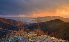 Crocetta last light (Maurizio Fontana) Tags: light sunset sea sky italy cloud mountain clouds nikon italia tramonto nuvole mare rapallo liguria cielo montagna luce d800 crocetta tigullio