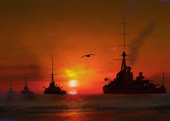 The Second Battle Squadron (Pat McDonald) Tags: england germany scotland britain navy digitalpainting monarch portsmouth sailor battleship fleet gibraltar firstworldwar corelpainter conqueror hms dreadnought jellicoe scapaflow kinggeorgev battlefleet thunderer thebattleofjutland thesecondbattlesquadron