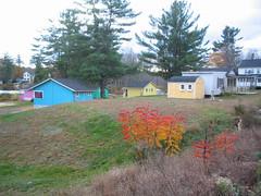 Harvey Lake Colorful Cottages - 434 (catchesthelight) Tags: autumn orange fall yellow colorful purple newengland nh sumac foliage turqoise cottages northwoodnh