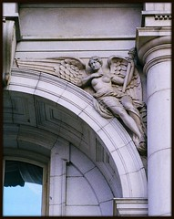 Sculptural Relief: Old City County Building--Detroit MI (pinehurst19475) Tags: city urban sculpture angel downtown architecturaldetail michigan detroit filmcamera pentaxmzm wingedfigures sculpturalrelief oldcountybuilding famalefigure