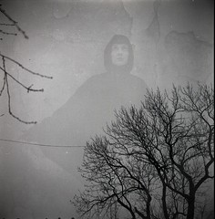 (Sex Crime 1984) Tags: trees sky bw girl strange experimental darkness doubleexposure ghost gothic cult romantic phantom spook eeriness blackwhitephotos
