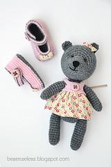 Amigurumi Teddy bear & baby booties (airali_gray) Tags: pink baby flower girl grigio dress teddy bears crochet gray rosa cotton teddybear newborn fiori amigurumi bottoni uncinetto cotone