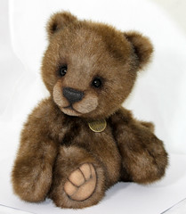 ♥ Donovan ♥  02/20/2013 ♥ 12 inches tall ♥ (thepeachpeddler) Tags: bear chris brown black wool glass fur nose cub eyes artist with shot handmade steel bears peach merino plush cotton mink copper faux christie pearl handsewn paws peddler embroidered coated perle sculpted shaded sealed the imported lined backing beeswax kotz weighted