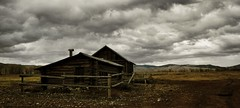 Old West dreams (CNorthExplores) Tags: park old travel autumn usa west chicken andy clouds canon grand national dreams homestead coop wyoming teton chambers granary g11 explored snapseed