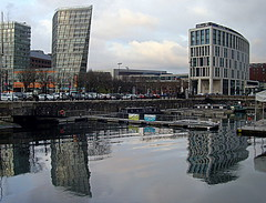 Liverpool Reflections (Tony Worrall Foto) Tags: city uk england urban reflection wet water architecture modern liverpool liverpooldocks buildings design dock northwest visit tourist basin mersey relic tout scouse wetreflection vistitors 2013tonyworrall