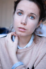 (tess_athey) Tags: blue portrait brown white black college shirt self hair lens nose sweater eyes jean skin piercing pale messy freckles 18 bun