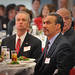 Alumnus Phil Freelon, right, at luncheon with NC State Provost Warwick Arden.
