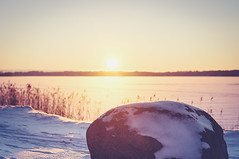 I Am A Rock {Explored} (jennydasdesign) Tags: winter sunset sun sunlight lake snow nature sunshine rock landscape 50mm frozen dof sweden beautifullight explore lensflare sverige sn vnern solnedgng vrmland explored dt50mmf18sam sonyslta57