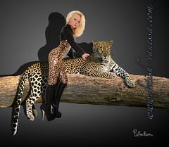 Vanessa & the leopard 02 (piloukam) Tags: black girl lady fetish shoes noir highheels boots barbie gimp heels spike bottes compositing lany fekete lfv hautstalons ladyfetishvanessa
