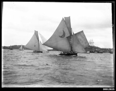 22-footers WONGA and VUNA on Sydney Harbour (Australian National Maritime Museum on The Commons) Tags: sailing yacht sydney yachts sydneyharbour figurehead wonga vuna sailingvessel harbourscenes williamhall williamhallcollection