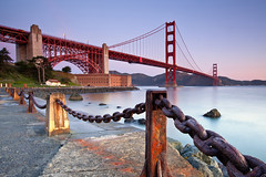 Sunrise At Fort Point..... (M. Shaw) Tags: ocean sanfrancisco california longexposure sea reflection building water architecture sunrise canon rust historic goldengatebridge bayarea fortpoint artdeco bluehour sausalito marinheadlands californiacoast ndfilter 1635mmf28l mshaw 5dmark2 canoneos5dmarkll