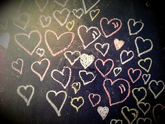 Wall of love (sarahjanequinn) Tags: home kitchen wall hearts chalk chalkboard iphone uploaded:by=flickrmobile flickriosapp:filter=nofilter