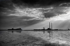 ship to port (zip po) Tags: sea sky blackandwhite dublin beach monochrome clouds port evening tide ruby5 utata:project=tw362