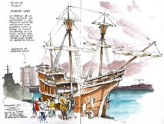 Nao Victoria (Luis_Ruiz) Tags: port de puerto muelle sketch dock barco ship harbour drawing vessel sketchbook victoria historic replica uno naval dibujo nao malaga navigation magallanes elcano urbansketchers stillmanbirn