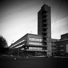 (vorobiew) Tags: street bw building mobile architecture stpetersburg square dusk modernism soviet 20s constructivism htc instagram htcone hamerandsickle