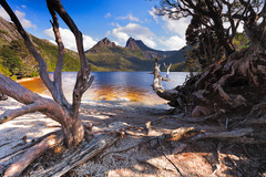 Cradle Mountain (stevoarnold) Tags: trees mountain clouds landscape nationalpark australia bluesky historic tasmania dovelake cradlemountain