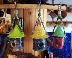 Ceramic Birdhouses with Glass-beaded Wire Hanger (Chipmunk Hill Arts) Tags: original art ceramics artist handmade w clay bloomingtonindiana katiewolfe chipmunkhillarts