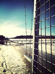 Tysnad innan vårisen släpper och småbåtshamnens grind öppnas (Moniqas) Tags: winter sea snow ice silence tystnad fotosondag uploaded:by=flickrmobile flickriosapp:filter=mammoth mammothfilter fs130407
