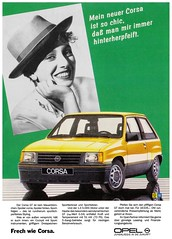Opel Corsa A (1986) GT sportlich chic (H2O74) Tags: auto woman green classic car yellow ads advertising automobile gm jung publicidad alt small ad young voiture wie advertisement amarillo hut gelb giallo coche 80s advert carro chic grn gt frau dame 1986 werbung geel  publicit reklame 80er styling opel spoiler publicitario corsa adverts araba anzeige frech sar youngtimer kleinwagen sportlich wagen automobil  klassiker pkw  mauerblmchen kfz a  kraftfahrzeug sportlenkrad werbungen kompaktklasse zuverlssigindiezukunft