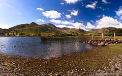 Panoramic View from Little Langdale Tarn (MikeChet) Tags: england panorama fall landscape unitedkingdom wildlife lakedistrict places flowersplants littlelangdale littlelangdaletarn tilberthwaitefells