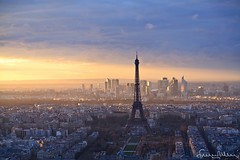 Sci-fi impression of Paris, at sunset (lathuy) Tags: city light sunset sky panorama mars sun paris tower beautiful seine clouds de soleil europe tour louvre lumire champs elyses coucher dramatic eiffel bleu ciel invalides romantic canon5d nuages montparnasse ville champ panoramique 24105 romantique lplast