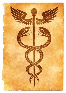 Caduceus Grunge Symbol - Sepia, From ImagesAttr
