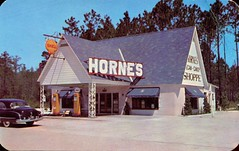 Horne's Candy Shoppe, Bayard FL (SwellMap) Tags: signs retail architecture vintage advertising design pc 60s fifties exterior postcard suburbia style kitsch retro business nostalgia chrome storefront americana 50s lettering roadside googie populuxe sixties babyboomer consumer coldwar midcenturymodern midcentury spaceage atomicage