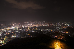 Nagasaki at night (Hyogoman) Tags: travel mountain japan night lights nikon asia cityscape nightscape angle wide tokina observatory nagasaki kyushu   inasa    d7000