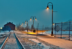 Fresh Snow and Tracks (yukonchris) Tags: snow canada night landscape lights spring downtown north traintracks yukon snowing northern hdr whitehorse trainshed snowscape northof60 ef50mmf14usm canon7d