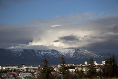 Iceland Landscape (shoot it!) Tags: city cloud mountain mountains clouds photoshop landscape iceland spring sneeuw wolken reykjavik lente dreamscape cityview wolk sneeuwval vergezicht ijsland