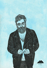 Smokey Joe the Hipster (Mulga The Artist) Tags: beard hipster smoking hipsterart hipstercoat hipsterbeard beardart mulgatheartist smokeyjoethehipster